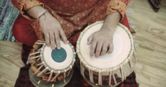 4k, Close-up of man playing the tabla drum Stock Footage