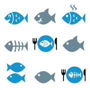 Fish, fish on plate, skeleton vector icons - stock illustration