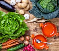 Fresh organic bio vegetables on wooden background Stock Photos