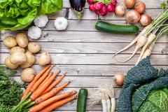 Fresh organic bio vegetables on wooden background Stock Photos