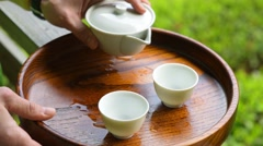 Japanese green tea close-up ceremony Stock Footage