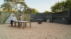 A boma at a private African safari lodge Stock Footage