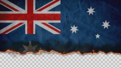 Burning Flag Australia Stock Footage