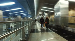"""Futuristic design of the metal at the metro station """"Business Center"""" Stock Footage"""