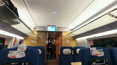 Passengers ride the train sapsan Stock Footage