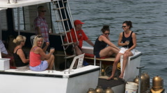 People on a boat attend America's Cup World Series Stock Footage