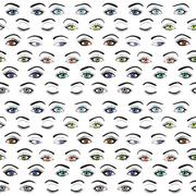 Set of female eyes and brows seamless vector pattern - stock illustration