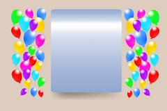 Blue gradient rectangle with baloons - stock illustration