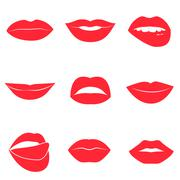 Set of glamour red lips. Beautiful female lips collection - stock illustration