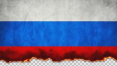 Burning Flag Russia Stock Footage