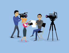 Camera Crew Team People Group Flat Style Stock Illustration