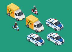 Police Motorcade Car Important Toxic Load Stock Illustration