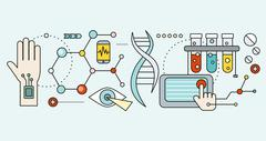 Laboratory with Human DNA. Concept Scientific - stock illustration