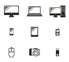 Set of Device Icon Design Flat - stock illustration