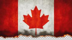 Burning Flag Canada Stock Footage
