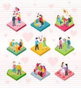 Isometric Happy Valentine Day Couple Set Piirros
