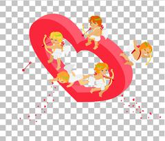 Valentines Day 3d Isometric Angels with Bow - stock illustration