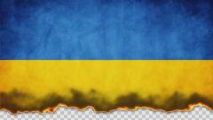 Burning Flag Ukraine Stock Footage
