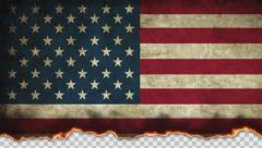 Burning Flag USA Stock Footage
