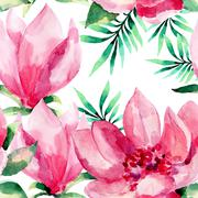 Watercolor seamless pattern of exotic flowers Stock Illustration