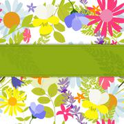 Abstract Natural Spring Background with Flowers and Leaves. Vect - stock illustration