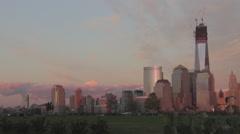 NYC Skyline Sunsetting - stock footage