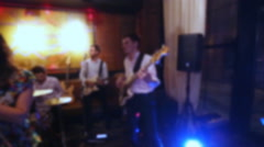Musical group sings at the wedding. Out of focus clip Stock Footage