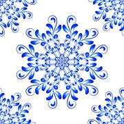 Blue Vector Seamless Mandala Pattern in Gzhel style - stock illustration