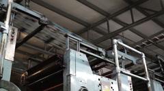Industrial Offset Press Newspaper Running Overhead - stock footage