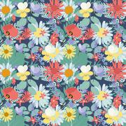 Abstract Natural Spring Seamless Pattern Background with Flowers - stock illustration
