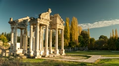 Stock Video Footage of Ancient ruins of Aphrodisias. Tetrapylon was the monumental gate of the Temple