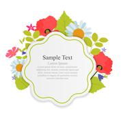 Abstract Natural Frame with Flowers and Leaves - stock illustration