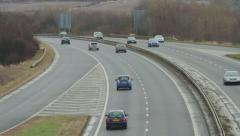 Traffic moving on the A720 - Edinburgh City Bypass, Scotland - stock footage