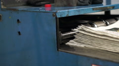 Industrial Offset Press Newspapers Stacking Handheld - stock footage