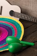 Mexican sombrero on wood background Kuvituskuvat