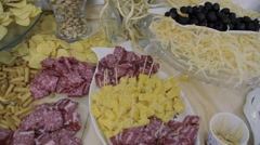 Meats and cheese selection - stock footage