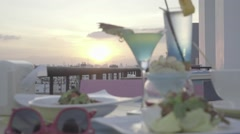 Dinner and cocktails at sunset, ungraded, slog2 Stock Footage