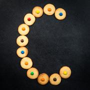 Homemade child cookies - C letter of the alphabet - stock photo
