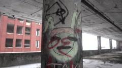 Detroit Packard Plant Graffiti Ruins Stock Footage