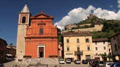 View to the central square of the medieval town of Pennabilli, Italy. Stock Footage