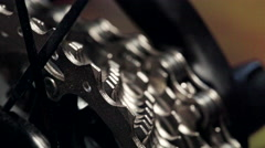 Close view of bicycle in workshop. Close up.Zoom out Stock Footage