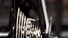 Mechanic repairing bicycle in workshop. Close up. Stock Footage