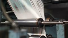 Industrial Offset Press Paper Folder Fast Handheld Stock Footage