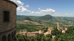 View to the countryside landscape from the medieval fortress in San Leo, Italy. - stock footage