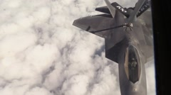 F-22 Raptor stealth fighter aerial Refueling Stock Footage