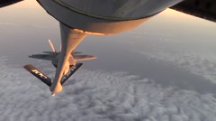 F-22 Raptor stealth fighter aerial Refueling - stock footage
