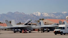 Line up of F-18 Hornets at Red Flag 16-1 - stock footage