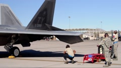 F-22 Raptor control checks at Red Flag 16-1 - stock footage