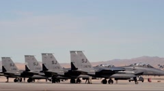 Line up F-15 Eagle fighter jet at Red Flag 16-1 Stock Footage