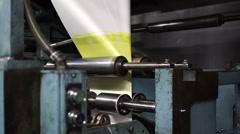 Industrial Offset Press Paper Folder Slow Stock Footage